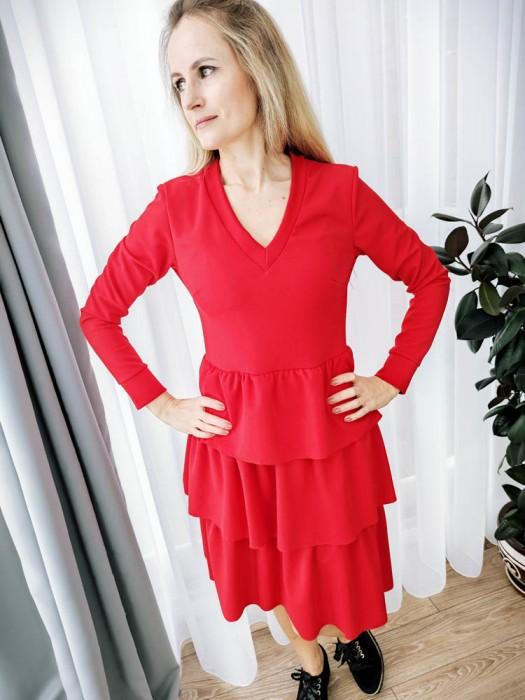 Suknelė su raukiniais raudona