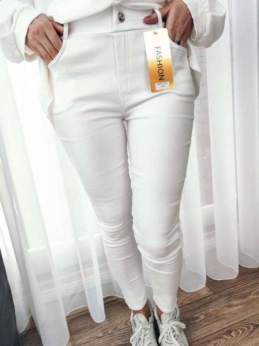 Kelnės džinsų imitacija baltos