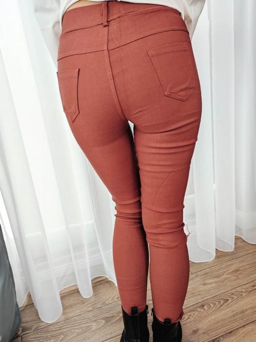 Kelnės džinsų imitacija plytų spalvos