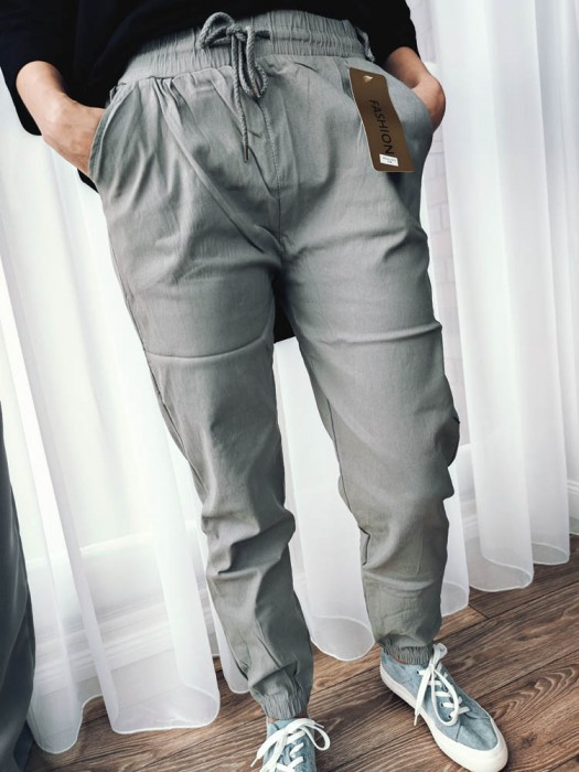 Kelnės su raišteliu pilkos