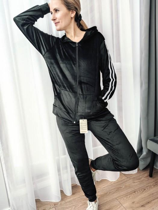 Sportinis kostiumas veliūrinis su juostelėm juodas