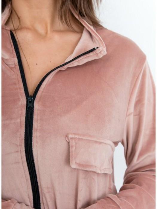 Sportinis kostiumas veliūrinis su kišenėm šv.rožinis