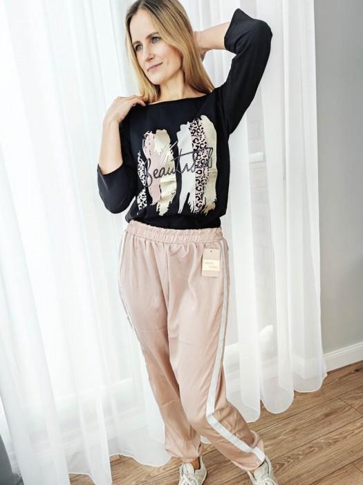 Sportinės kelnės su balta juostele rožinės