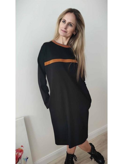Suknelė su ruda juostele