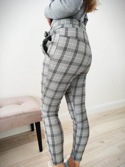 Kelnės languotos su dirželiu