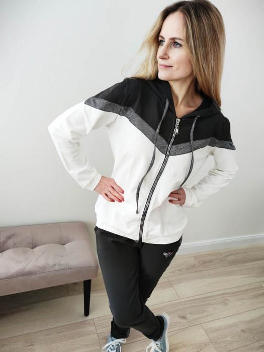 Sportinis kostiumas su blizgia juosta, juoda/balta