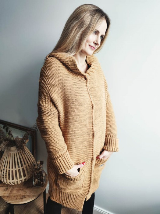 Megztinis-kardiganas ilgas užsegamas