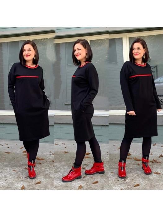 Suknelė su raudona juostele
