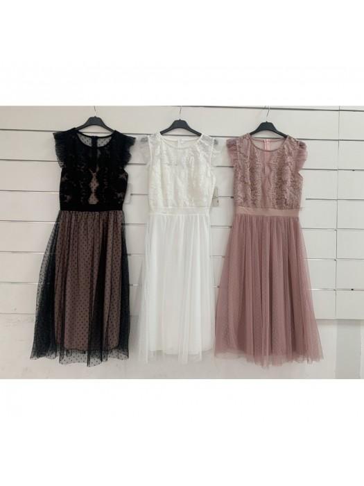 Suknelė su tiuliu ir nėriniais