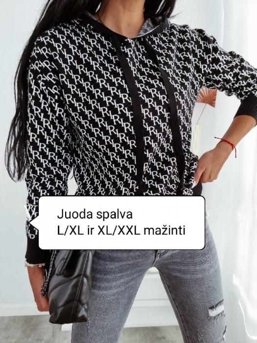 Megztinis su kapišonu juodas