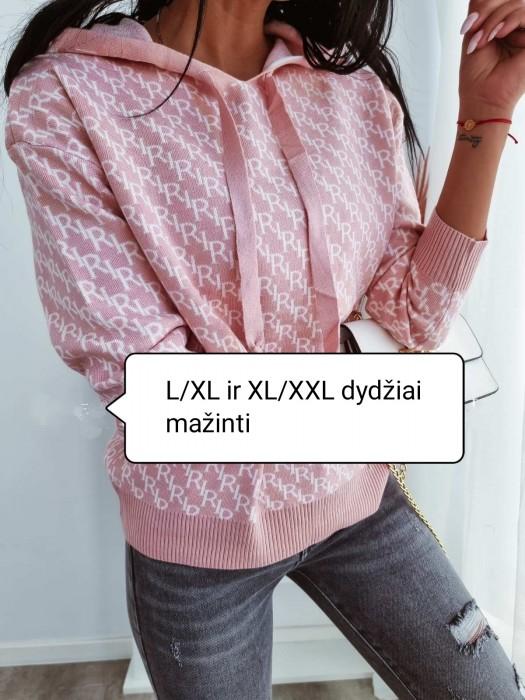 Megztinis su kapišonu šviesiai rožinis