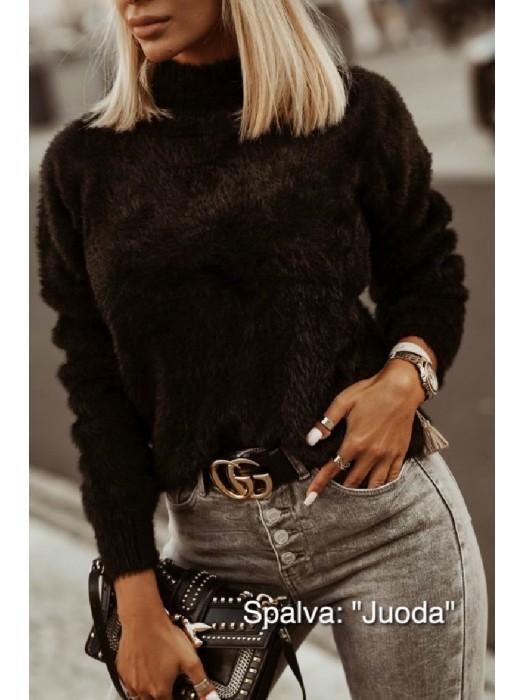 Megztinis pūkuotas juodas