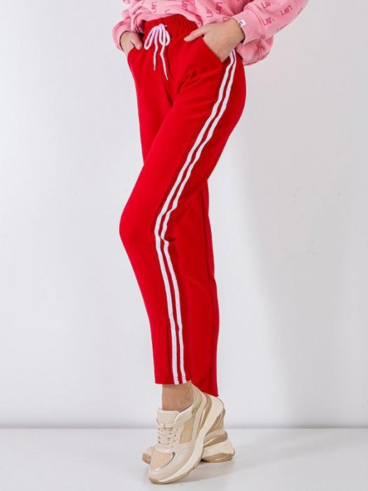 Sportinės kelnės su juostelėm raudonos