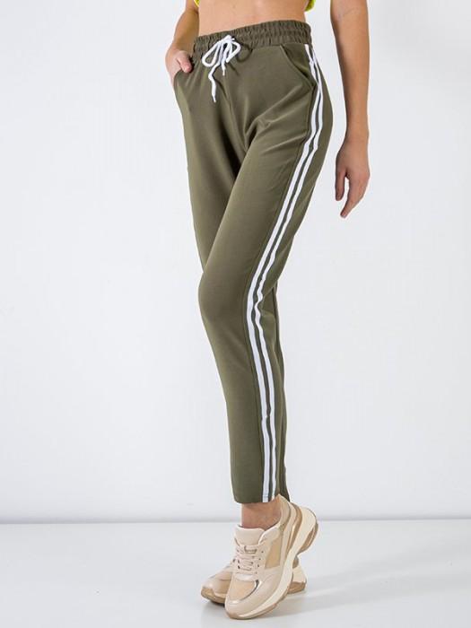 Sportinės kelnės su juostelėm žalios