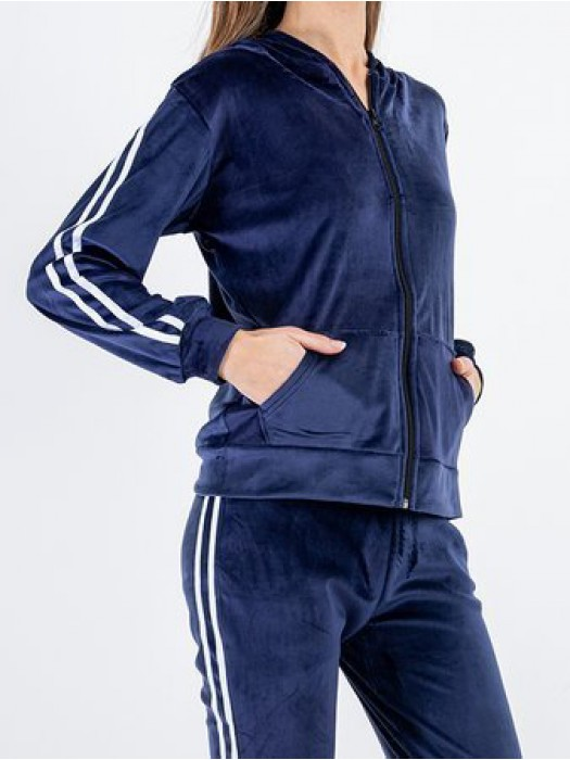 Sportinis kostiumas veliūrinis su juostelėm mėlynas