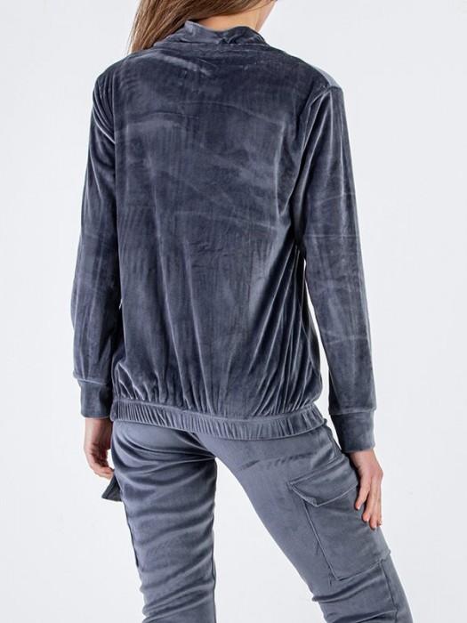 Sportinis kostiumas veliūrinis su kišenėm pilkas