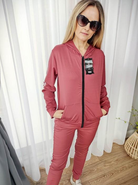 Sportinis kostiumas su juostelėm tamsiai rožinis