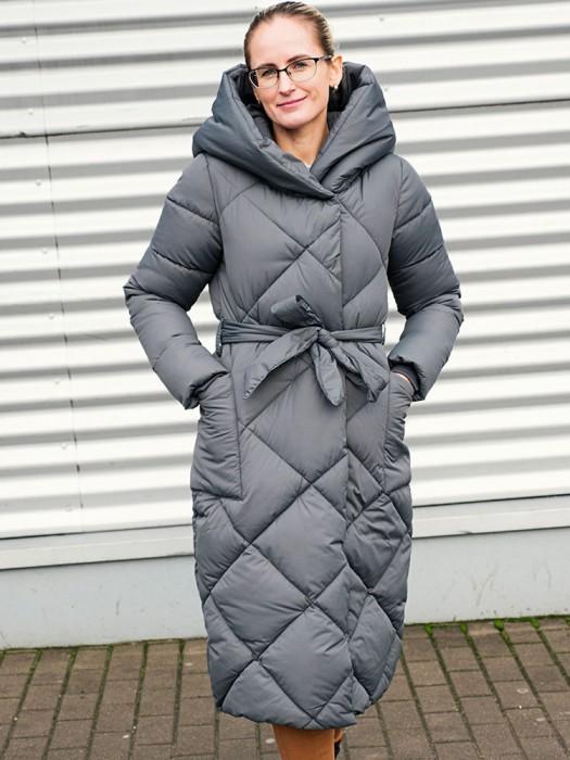 Paltas pilkas su dirželiu