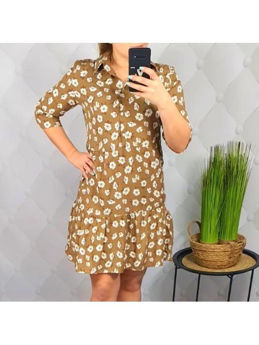 Suknelė ruda su gėlytėm