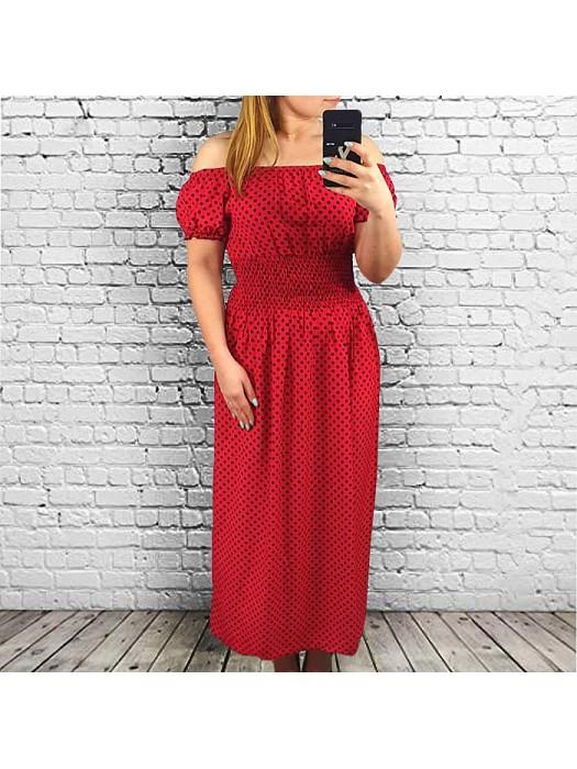 Suknelė ilga raudona taškuota