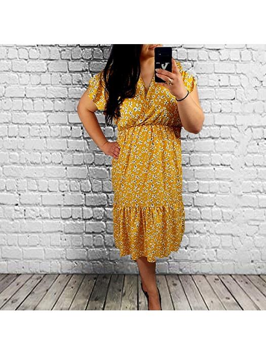 Suknelė geltona marga didesni dydžiai