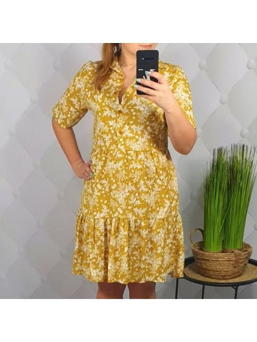 Suknelė geltona su gėlytėm