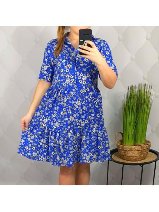 Suknelė mėlyna su smulkiom gėlytėm