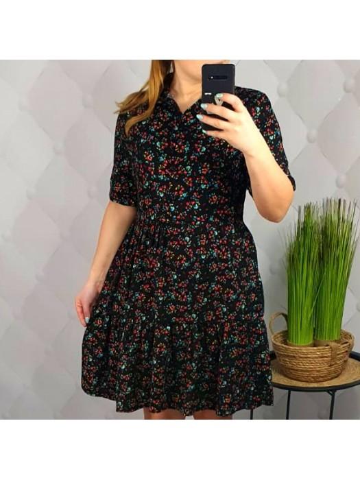 Suknelė juoda su margom gėlytėm