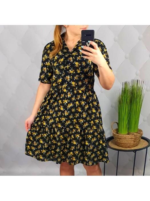 Suknelė juoda su geltonom gėlytėm