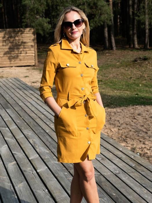 Suknelė-tunika su sagom garstyčių spalva